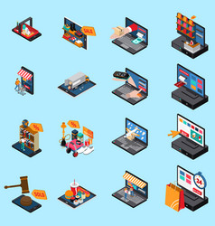 mobile shopping isometric icons vector image