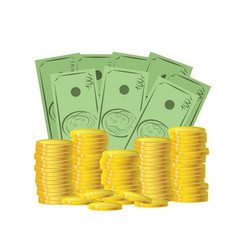 money coins and bills stock vector image
