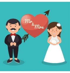 mr and mrs couple heart wedding design graphic vector image
