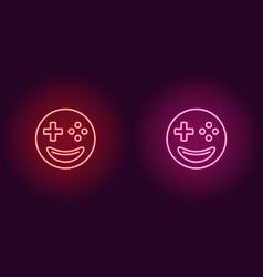 Neon emoji gamer glowing sign emoji icon vector