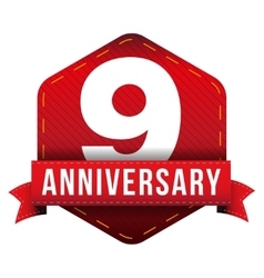 Nine year anniversary badge with red ribbon vector