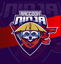 Ninja raccoon mascot esport logo design character vector