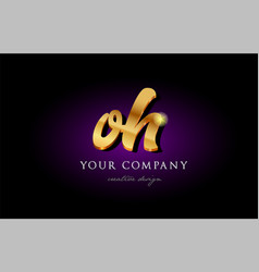 Oh o h 3d gold golden alphabet letter metal logo vector