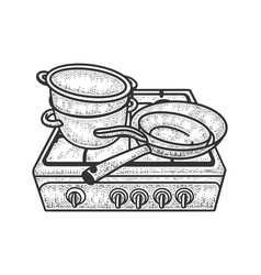 Old stove with pots and pans sketch vector