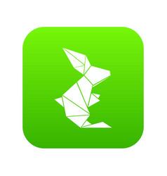origami rabbit icon green vector image