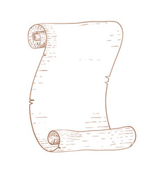 Parchment scroll brown hand drawn sketch vector