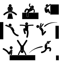 parkour man jumping climbing leaping acrobat icon vector image