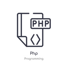 php outline icon isolated line from programming vector image