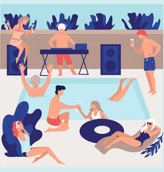 pool party friends or vip people vector image