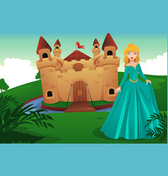 princess in front of her castle vector image
