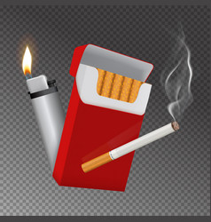 realistic cigarette pack and lighter composition vector image
