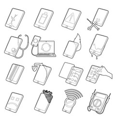 Repair phones fix icons set outline style vector