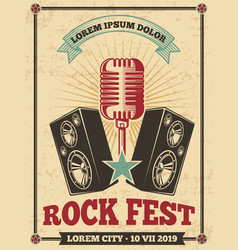Rock festival vintage poster rock and roll vector