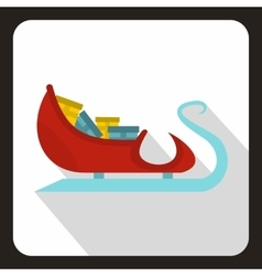 Santa Claus sleigh with gifts icon flat style vector image