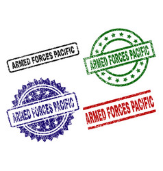 Scratched textured armed forces pacific stamp vector