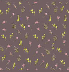 seamless pattern with colorful wild plants vector image