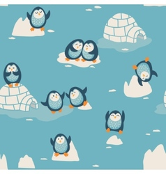 Seamless pattern with little cute penguins vector image