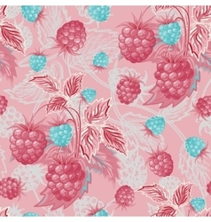 Seamless pattern with pink blue raspberries Hand vector image