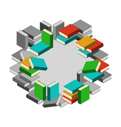 Set of stacks of books in color and gray scale in vector image
