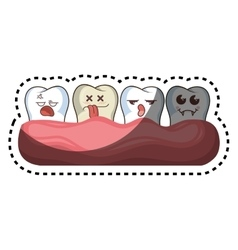 Set teeth funny character kawaii style vector
