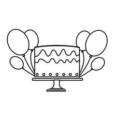Silhouette cake and balloons party birthday vector