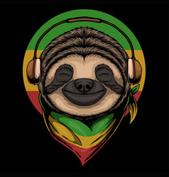 Sloth rasta a wearing headphones vector