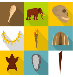 spelaean icons set flat style vector image
