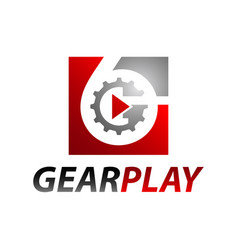 Square inside number six gear media play logo vector