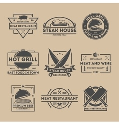 Steak house vintage isolated label set vector