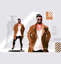 Stylish guy in coat vector
