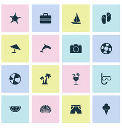 Summer icons set collection of baggage lifesaver vector