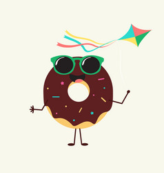 Summer sweets color donuts cake icon design vector