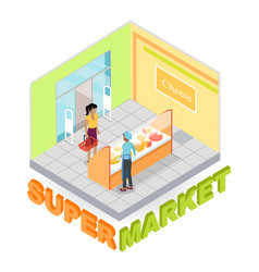 Supermarket cheese department isometric vector