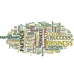 the key to success choose the right partner text vector image