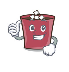 thumbs up hot chocolate character cartoon vector image