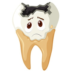 Tooth decay with sad face vector