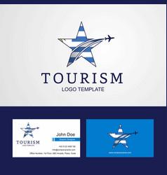 Travel uruguay flag creative star logo and vector