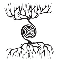 Tree symbol with roots and a spiral vector