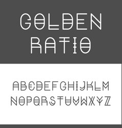 trendy golden ratio thin line font vector image