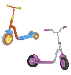 two cute color kick scooter for boy and girl vector image