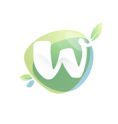 w letter logo with negative space at green vector image