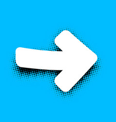 white arrow sign on blue background vector image