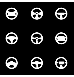white steering wheels icon set vector image