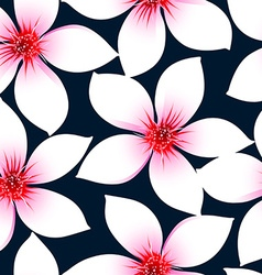White tropical hibiscus flowers in a seamless vector image
