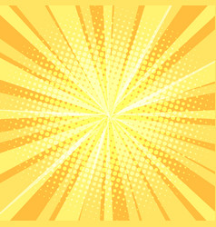 yellow pop art background rays vector image