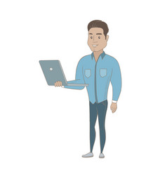 Young hispanic businessman using a laptop vector