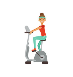 Young woman character training on an exercise bike vector