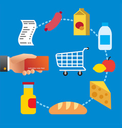 buying food meal in supermarket vector image vector image