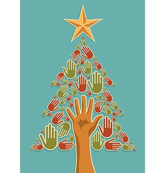 Diversity Christmas Tree hands vector image vector image