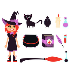 little witch girl vector image